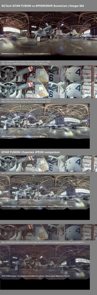 Comparison of iSTAR and SceneCam output. Hangar 604, Combat Air Museum, Kansas
