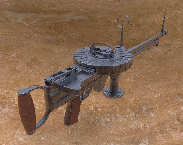 Lewis Gun - Computer rendering of 3D model.